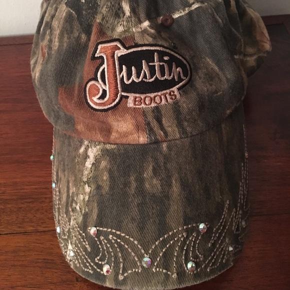 292d71ebf57 Justin Boots Camo   Rhinestone Ball Cap Hat